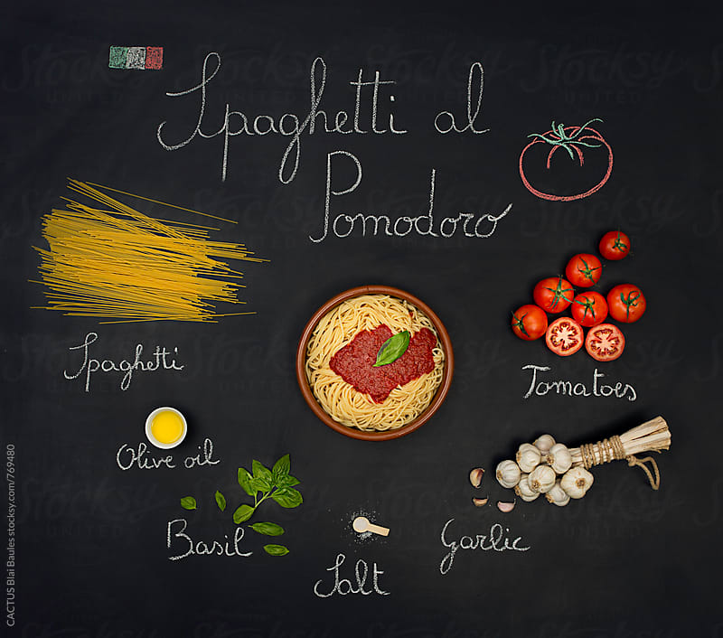 Spaghetti al pomodoro recipe by Blai Baules for Stocksy United