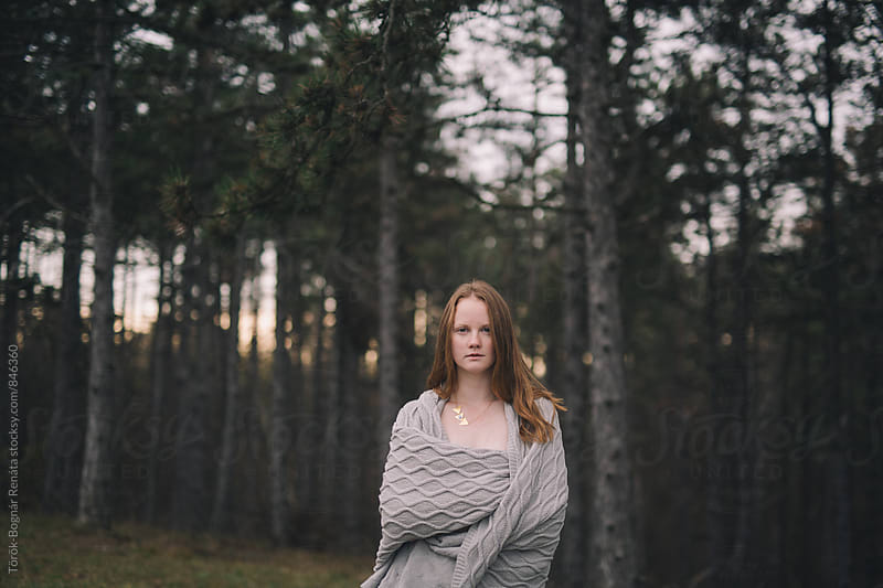 Beautiful young woman in the woods by Török-Bognár Renáta for Stocksy United