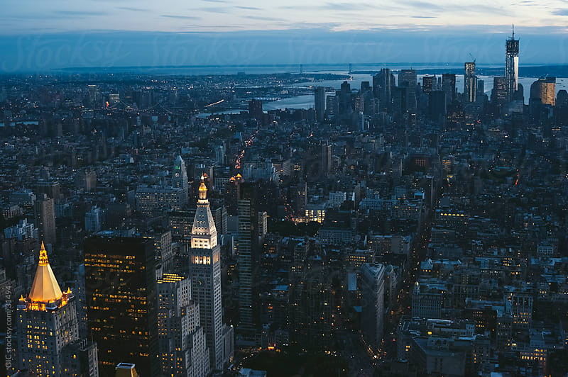 Aerial view of New York City at twilight by GIC for Stocksy United