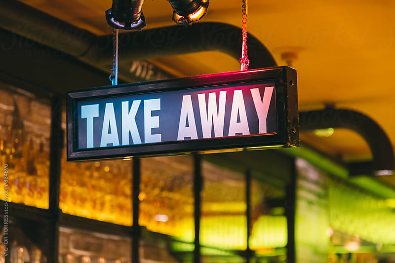 Take Away Sign in a Traditional Restaurant by Victor Torres for Stocksy United