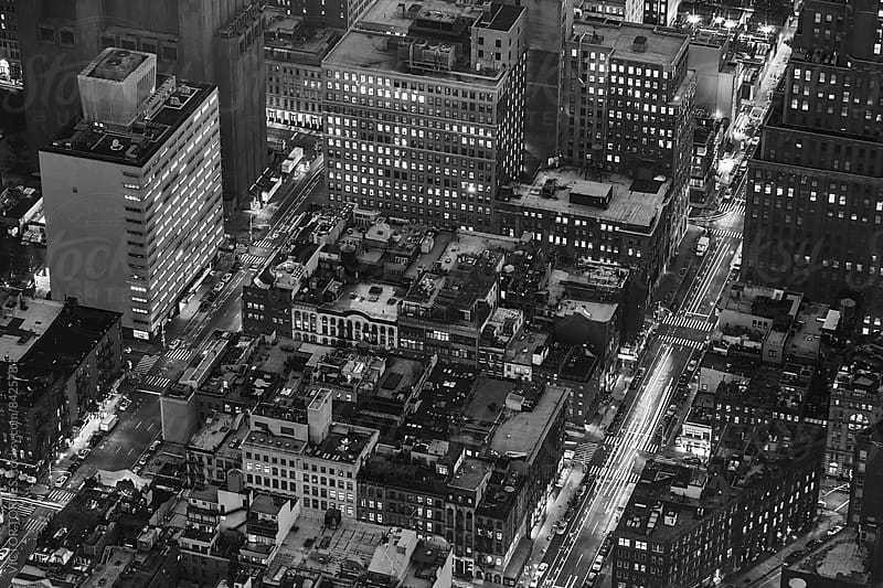 Aerial Night Scene in New York by Victor Torres for Stocksy United