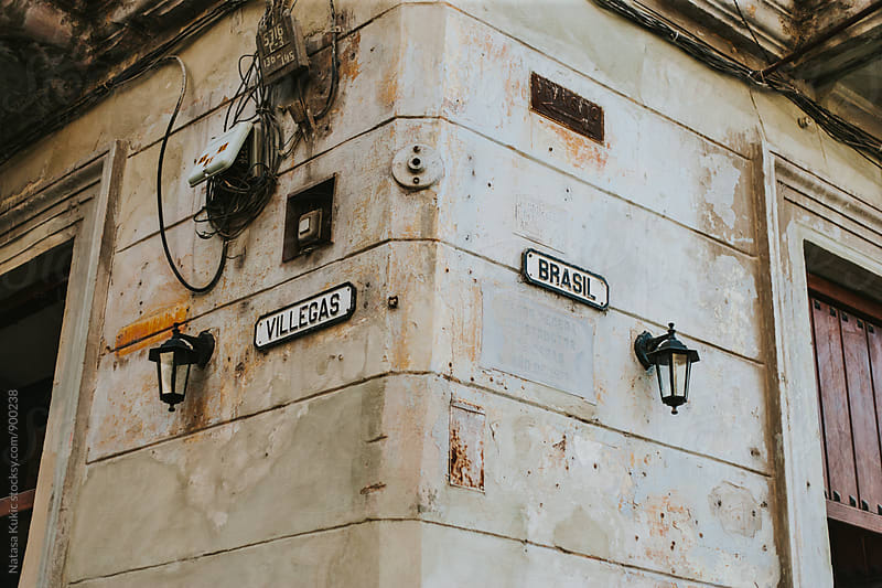 Streets of Havana,corner of a house,names of the streets by Natasa Kukic for Stocksy United