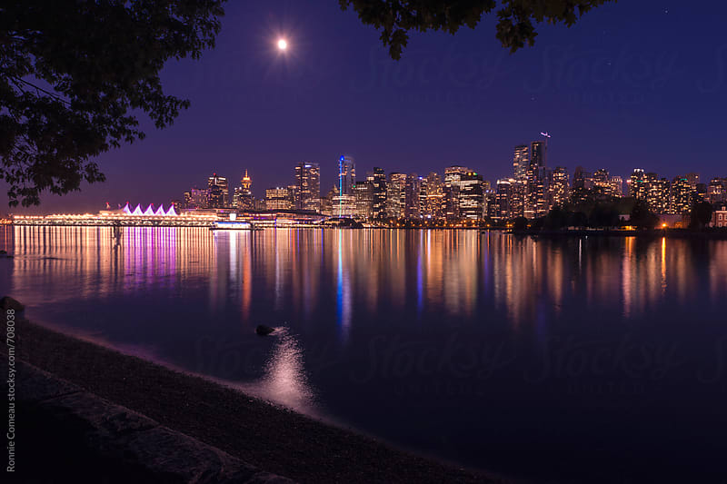 Vancouver Skyline At Night by Ronnie Comeau for Stocksy United