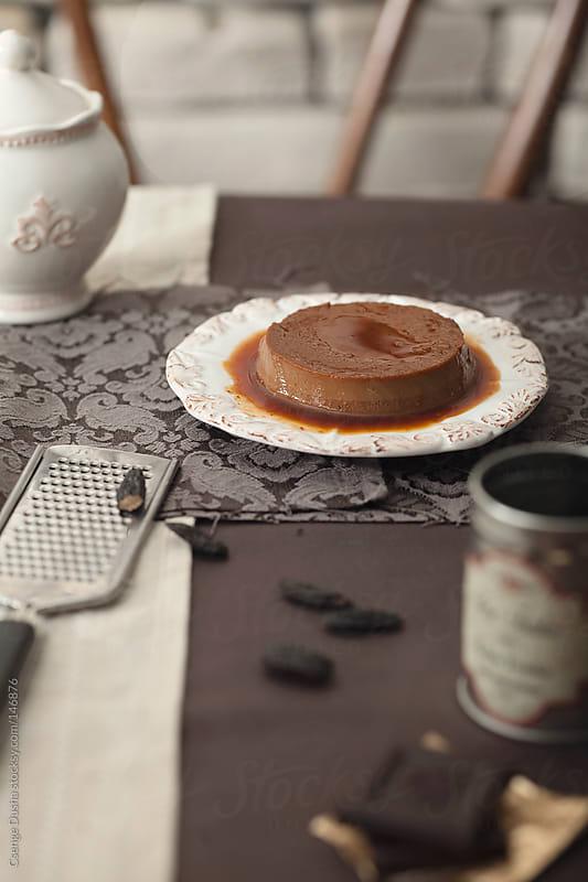 Chocolate-Amaretto Flan by Csenge Dusha for Stocksy United
