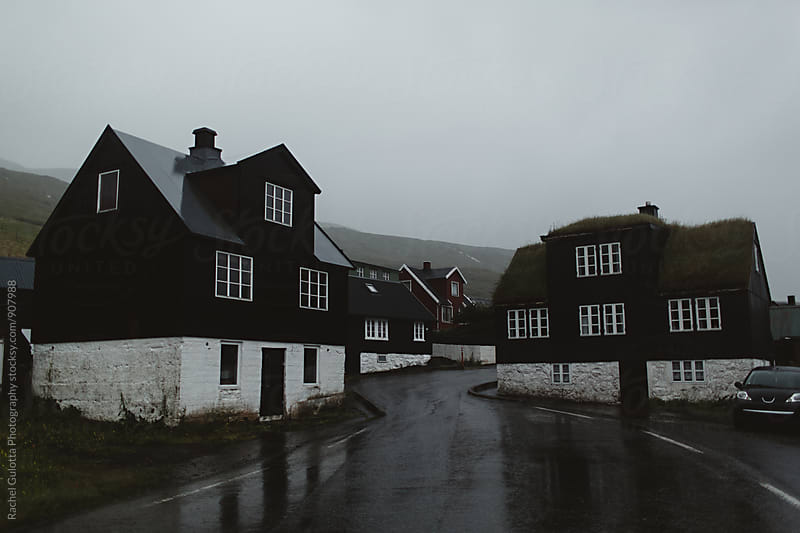 Black and White Houses on a Rainy Day by Rachel Gulotta Photography for Stocksy United