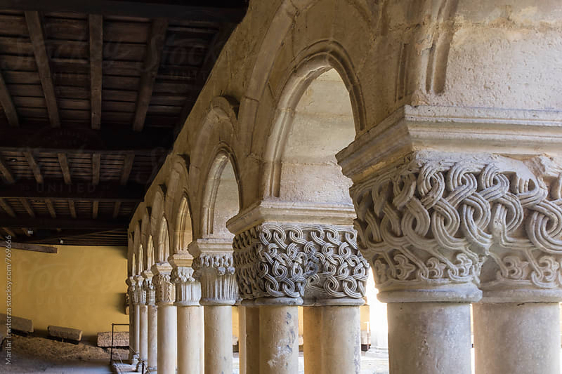 Cloister of a romanesque collegiate church in Spain by Marilar Irastorza for Stocksy United