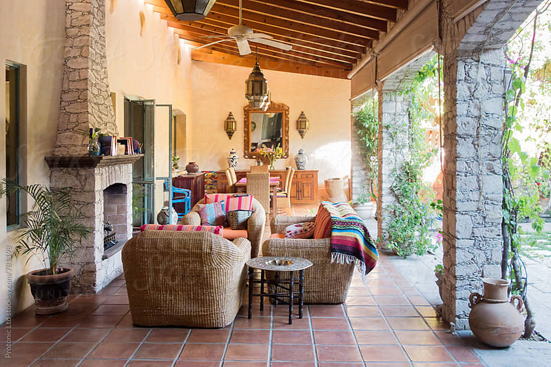 Covered luxury patio in Mexican style by Per Swantesson for Stocksy United