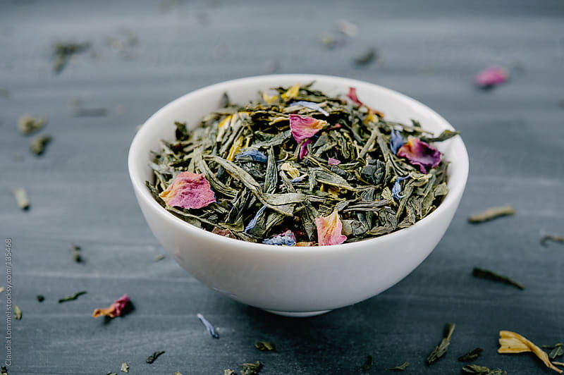 Bowl of Loose Green Sencha Tea Mixed with Flower Petals by Claudia Lommel for Stocksy United
