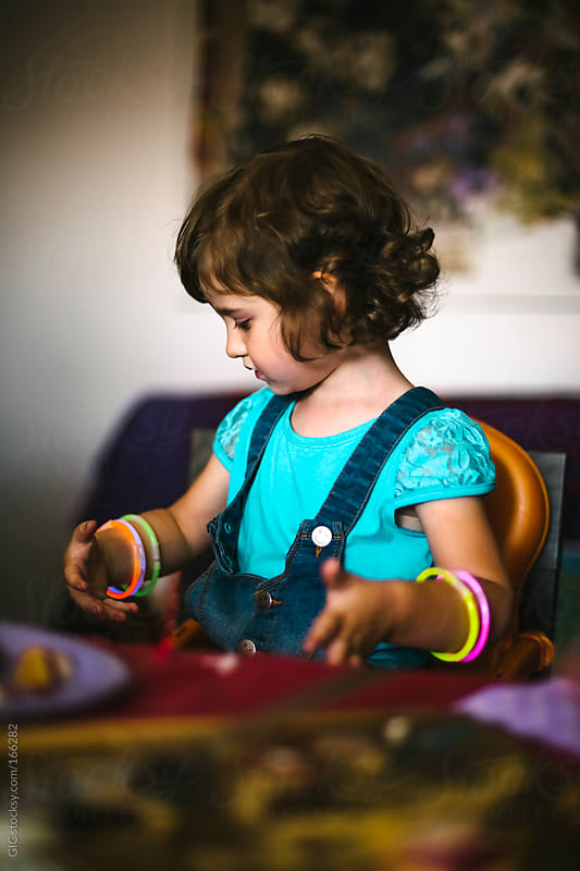 Portrait of a little girl during birthday party by GIC for Stocksy United