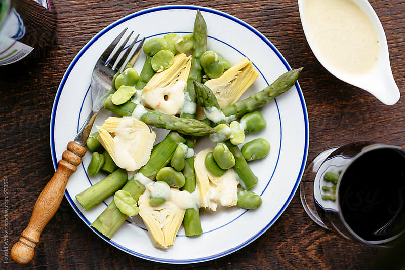 Spring Salad with Asparagus, Artichoke and Fava Beans by Harald Walker for Stocksy United