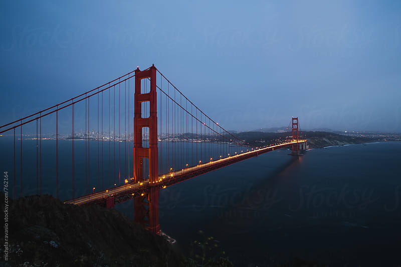 Golden Gate Bridge at blue hour by michela ravasio for Stocksy United