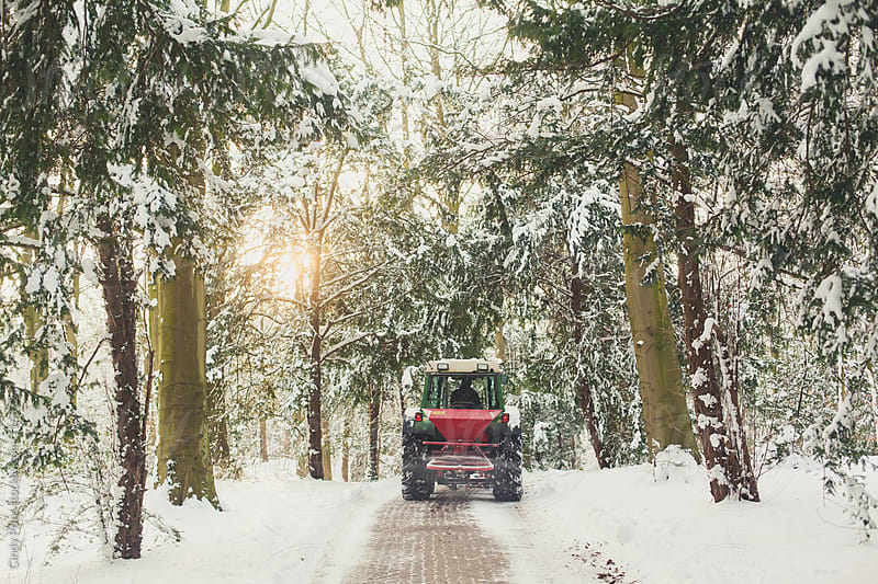 A shovel clearing the road of snow in the woods by Cindy Prins for Stocksy United