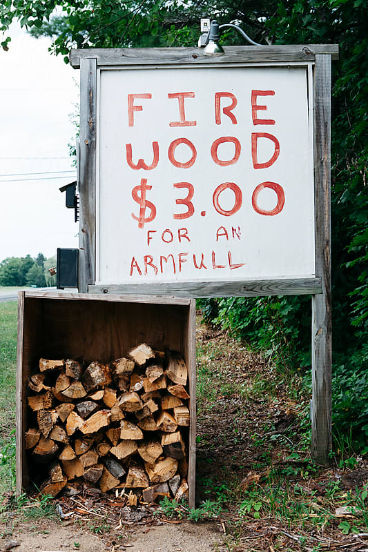 Roadside Firewood for Sale by Raymond Forbes LLC for Stocksy United