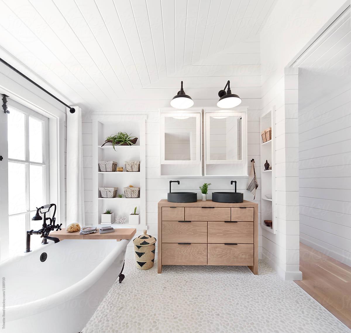 Rustic modern farmhouse bathroom in small cottage by ... on Modern Farmhouse Bathroom  id=45128