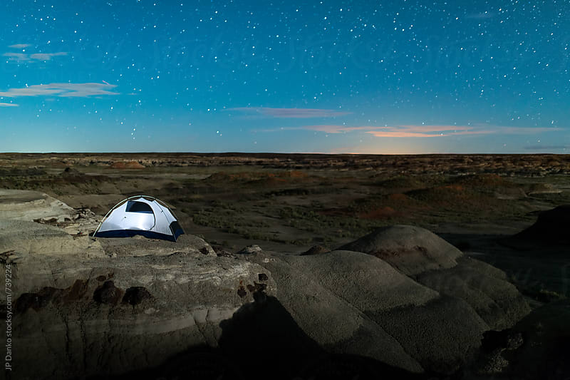 Moonlit Landscape and Camping in Bisti Badlands Bisti/De-Na-Zin New Mexico Tent  and Night Sky by JP Danko for Stocksy United