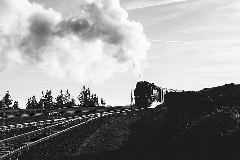 Black and white image of steam locomotive by Urs Siedentop & Co for Stocksy United