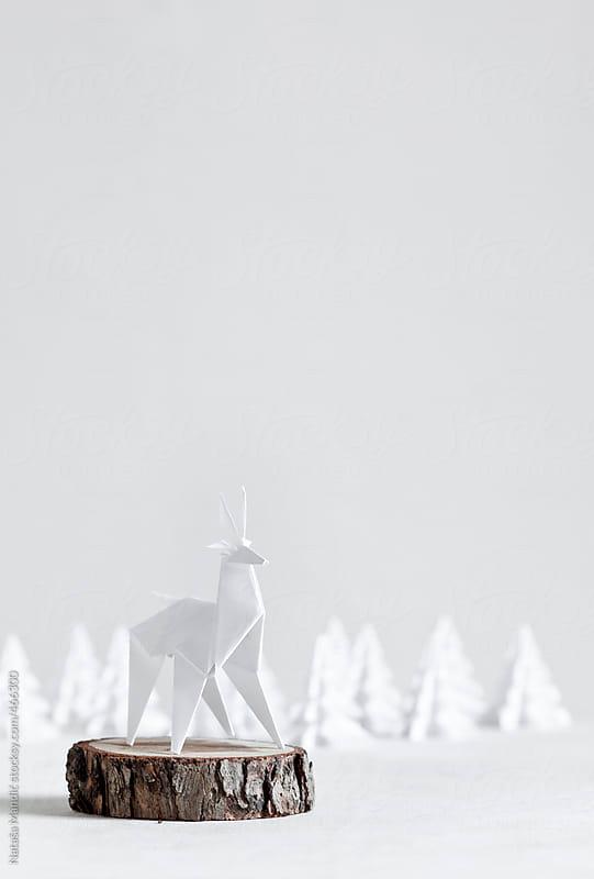 Origami Reindeer with origami trees by Nataša Mandić for Stocksy United