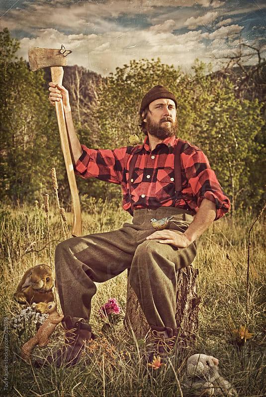 portrait of lumber jack by Tod Kapke for Stocksy United