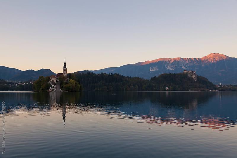Lake Bled in Slovenia at Dusk by Tom Uhlenberg for Stocksy United