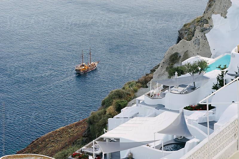 Blue sea in summer, greek islands, Santorini by Maa Hoo for Stocksy United