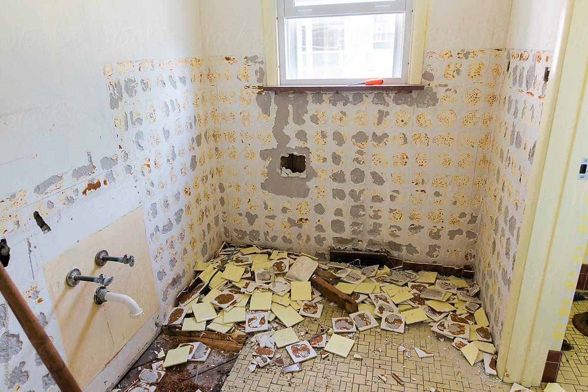 Lovely Bathroom Demolition By Maria Manco For Stocksy United