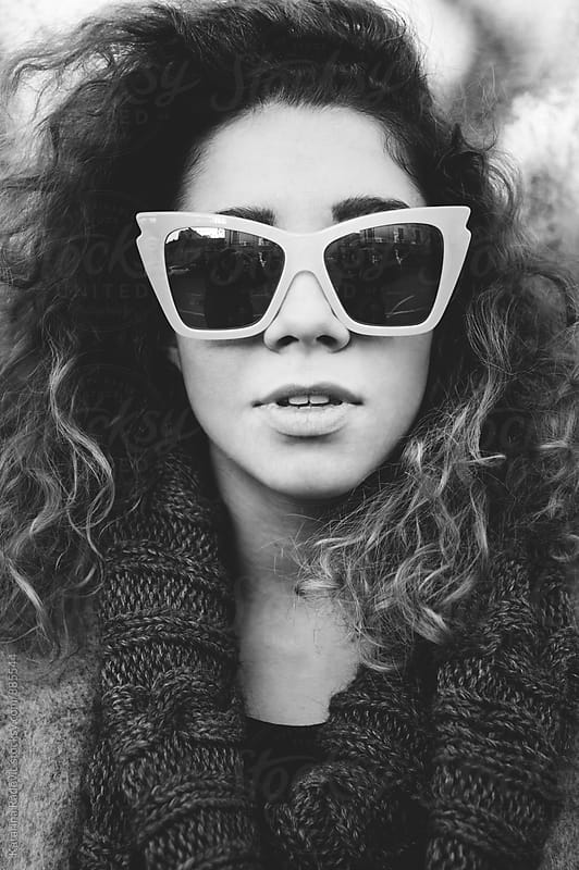 Closeup Portrait of Beautiful Woman With Fashionable Sunglasses by Katarina Radovic for Stocksy United