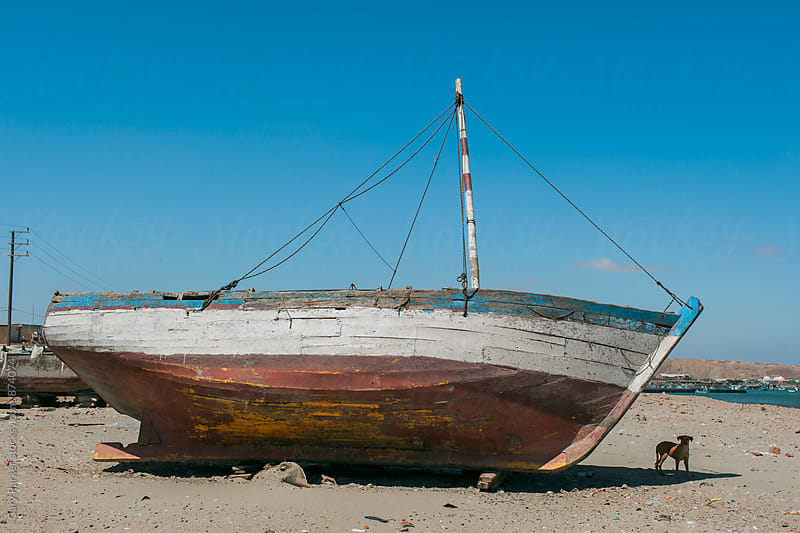 An old boat lays dormant on the beach with a small dog resting in the shadows by Gary Parker for Stocksy United