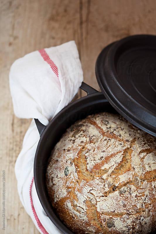 Multigrain no-knead bread by Federica Di Marcello for Stocksy United