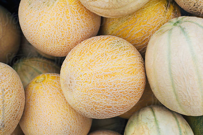 Cantaloupe melons at market by Kristin Duvall for Stocksy United