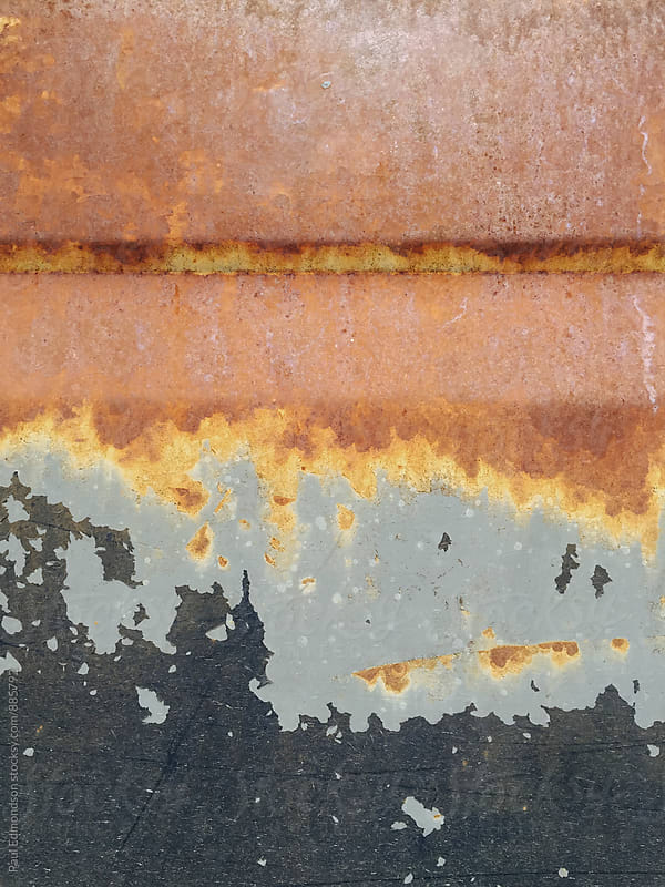 Detail of rusty metal car door on old pickup truck by Paul Edmondson for Stocksy United