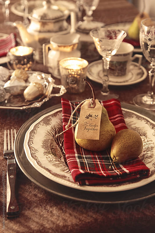 Place setting set for the holidays by Sandra Cunningham for Stocksy United
