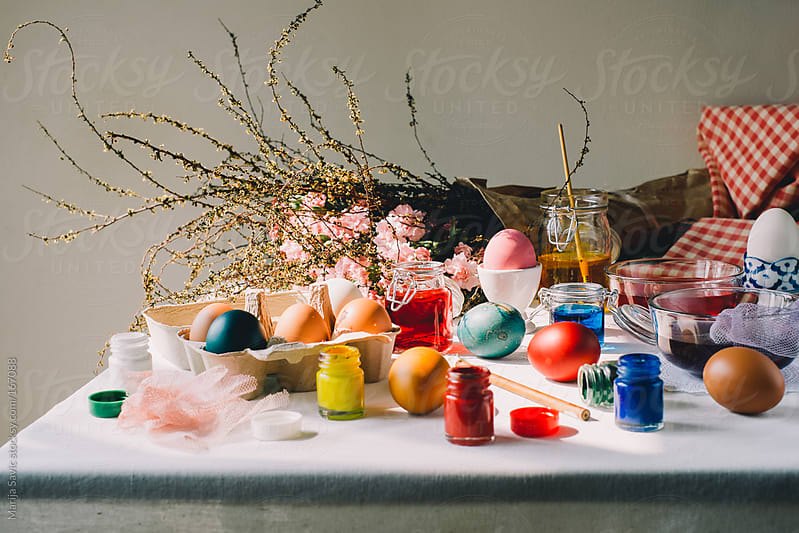 Coloring Easter Eggs by Marija Savic for Stocksy United