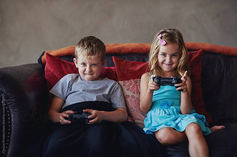 Video games kids by Daxiao Productions for Stocksy United