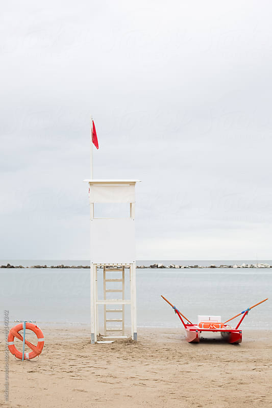 Lifeguard tower along the sea by michela ravasio for Stocksy United