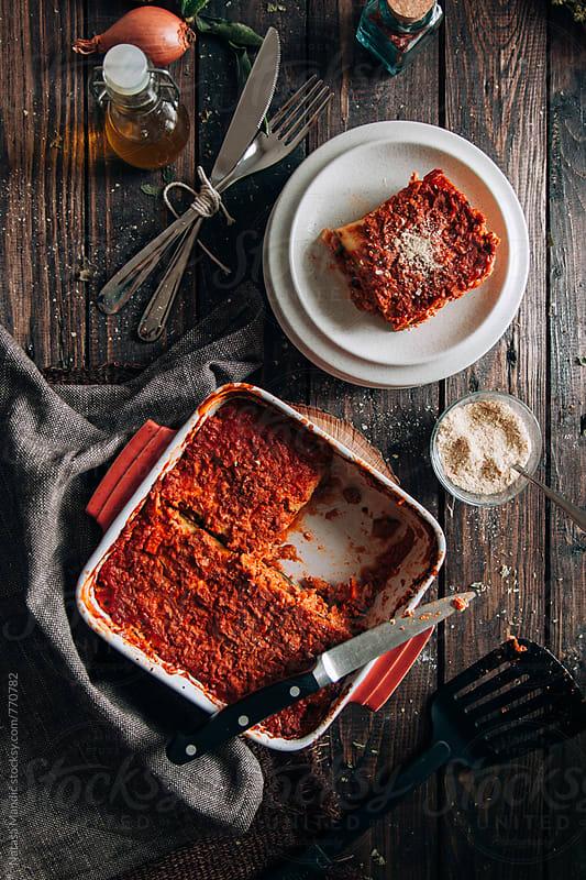 Homemade zucchini lasagna by Nataša Mandić for Stocksy United
