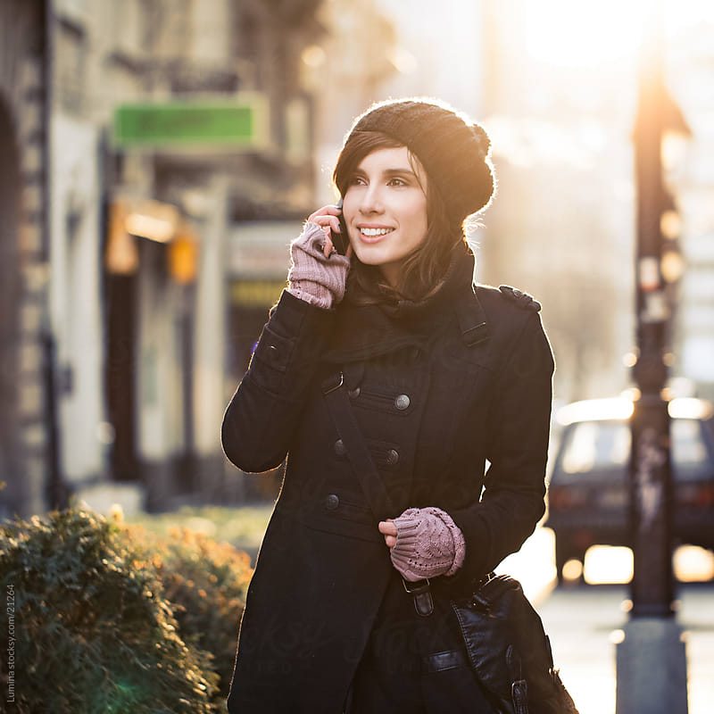 Woman Telephoning Outdoors by Lumina for Stocksy United