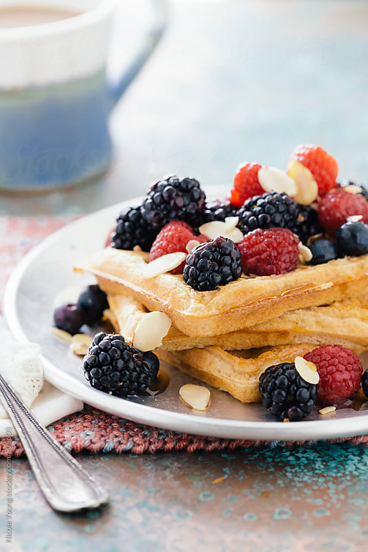 Waffles Topped with Berries by Nicole S. Young for Stocksy United
