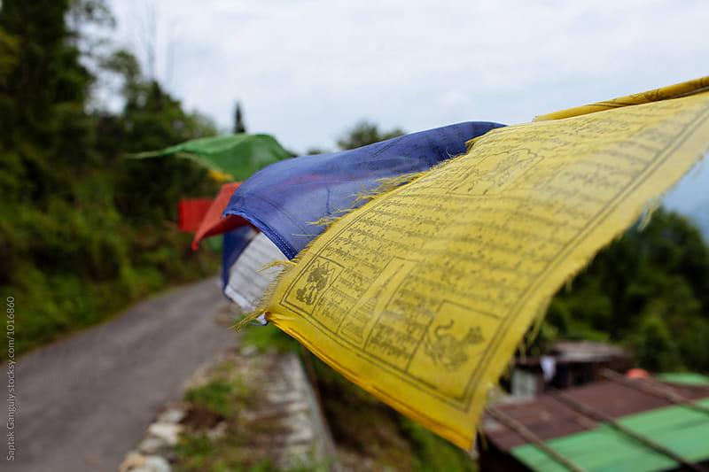 Buddhist prayer flags by Saptak Ganguly for Stocksy United