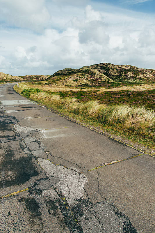 Cracked Road Through Grassy Dune Landscape in National Park on Sylt (Germany) by VISUALSPECTRUM for Stocksy United