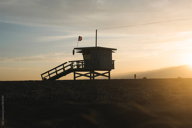 Life guard tower at sunset by WAVE for Stocksy United