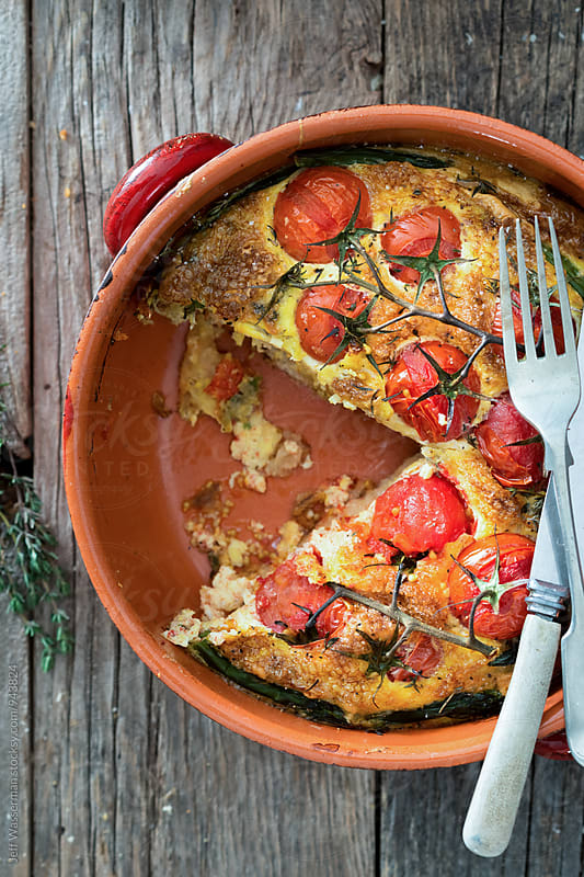 Frittata with Vine Tomatoes and Asparagus  by Studio Six for Stocksy United