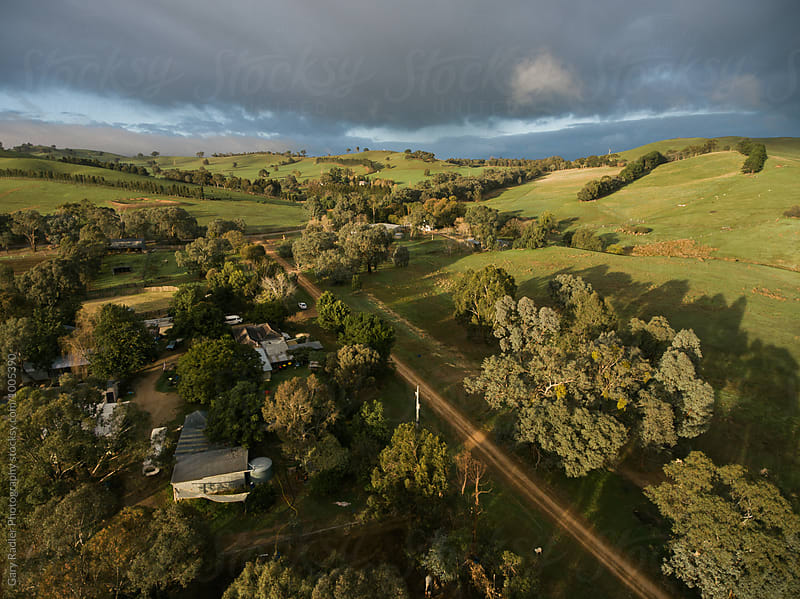Looking Down on Farm Buidlings in Victoria, Australia by Gary Radler Photography for Stocksy United