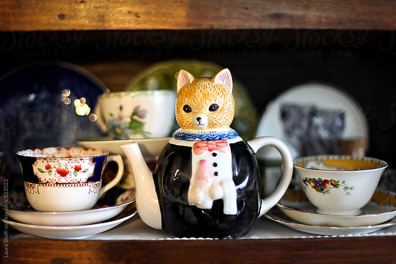 A frac dress wearing cat shaped teapot amongst teacup in kitchen cabinet by Laura Stolfi for Stocksy United
