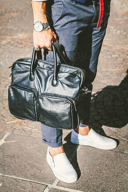 Trendy Commuter with a Leather Briefcase by Giorgio Magini for Stocksy United