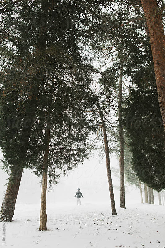 Tiny figure in snowy forest by Ellie Baygulov for Stocksy United
