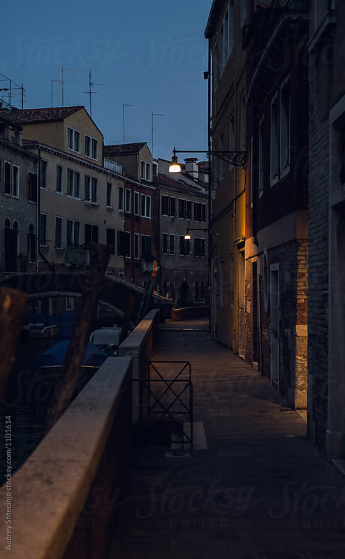 Street light during calm evening .Venice/ Italy by Marko Milanovic for Stocksy United