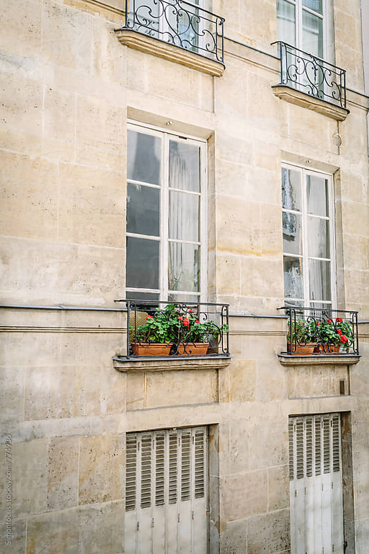 Potted geraniums on Paris balconies by Simon DesRochers for Stocksy United