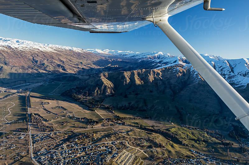 Beautiful aerial view of  Wanaka town by Song Heming for Stocksy United