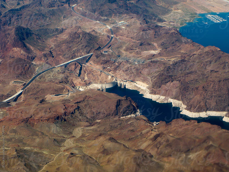 Aerial Photography of Hoover Dam and Lake Mead On Approach To Las Vegas Airport by JP Danko for Stocksy United
