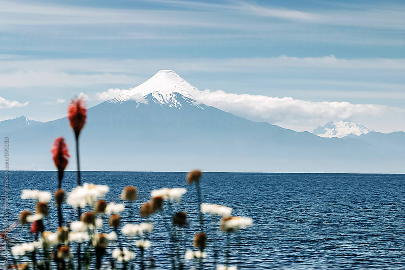 View of Osorno Volcano from Frutillar, Chile 2652m by Raymond Forbes LLC for Stocksy United